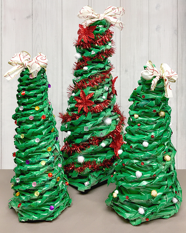 We're loving: newspaper Christmas trees
