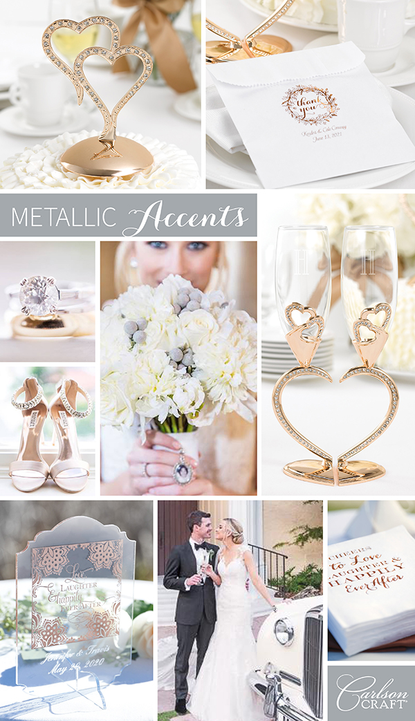 We're loving: weddings with metallic accents
